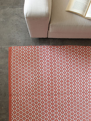 Pink Mounted Trells Cotton Floor Rug (L-72in ,W-48in)