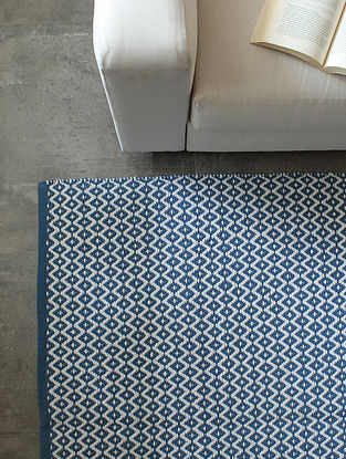 Blue Mounted Trells Cotton Floor Rug (L-72in ,W-48in)
