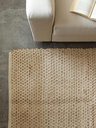 Beige Methodical Honeycomb Floor Rug (L-60in ,W-36in)