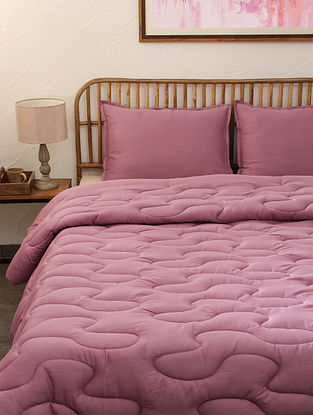 Purple Rhubarb Single Cotton Comforter (L-92in ,W- 61in)