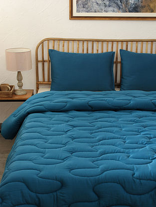 Blue Midnight Blue Single Cotton Comforter (L-92in ,W- 61in)