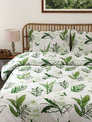 Green Vanam Cotton Printed Comforter