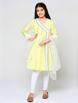 Yellow Cotton Angrakha Kurta with Churidar and Net Dupatta (Set of 3)
