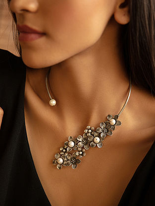 Tribal Silver Necklace with Fresh Water Pearls