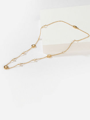 Gold Tone Tribal Silver Necklace with Fresh Water Pearls