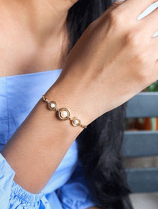 Gold Tone Tribal Silver Bracelet with Fresh Water Pearls