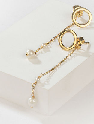 Gold Tone Tribal Silver Earrings with Fresh Water Pearls