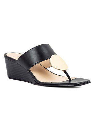 Black Handcrafted Leather Wedges