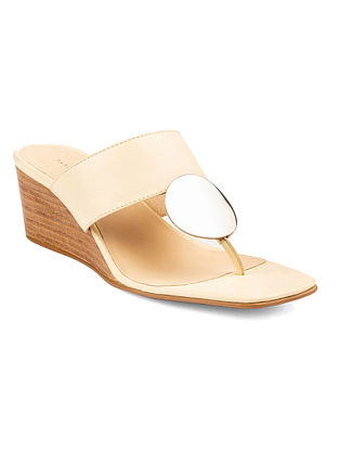 Ivory Handcrafted Leather Wedges
