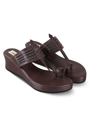 Chocolate Brown Handcrafted Faux Leather Kolhapuri Wedges