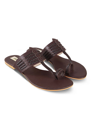 Chocolate Brown Handcrafted Faux Leather Kolhapuri Flats