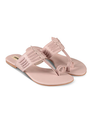 Blush Pink Handcrafted Faux Leather Kolhapuri Flats