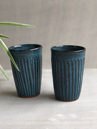 Deep Sea Blue Stoneware Clay Saagar Fluted Tumblers (Dia-3in, H-5in) (Set of 2)