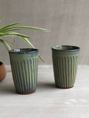 Sea Green Stoneware Clay Saagar Fluted Tumblers (Dia-3in, H-5in) (Set of 2)