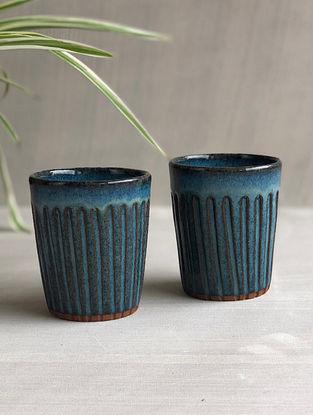 Deep Sea Blue Stoneware Clay Saagar Chai Glass (Dia-2.75in, 3.3-5in) (Set of 2)