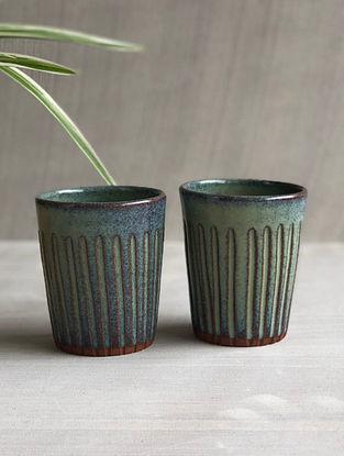 Sea Green Stoneware Clay Saagar Chai Glass (Dia-2.75in, 3.3-5in) (Set of 2)