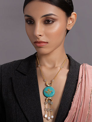 Turquoise Gold Tone Handcrafted Necklace