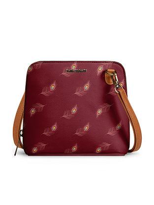 Maroon Handcrafted Printed Crossbody Bag