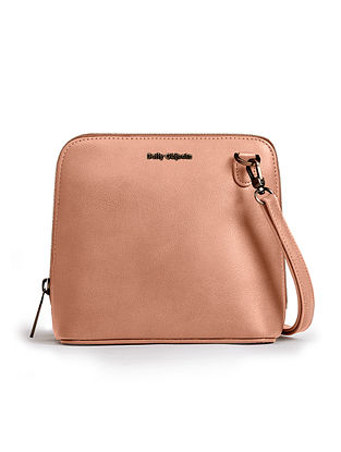 Pink Handcrafted Printed Crossbody Bag