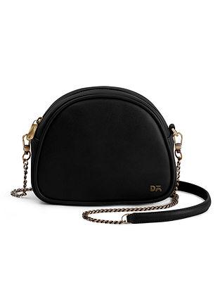 Black Handcrafted Printed Crossbody Bag
