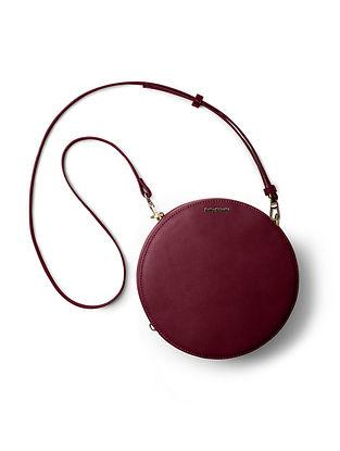 Burgundy Handcrafted Printed Crossbody Bag
