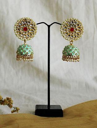Green Gold Tone Kundan Enameled Jhumki Earrings