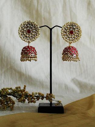Pink Gold Tone Kundan Jhumki Earrings With Pearls