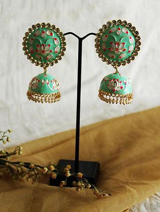 Green Gold Tone Enameled Jhumki Earrings