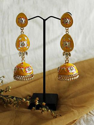 Yellow Gold Tone Enameled Jhumki Earrings