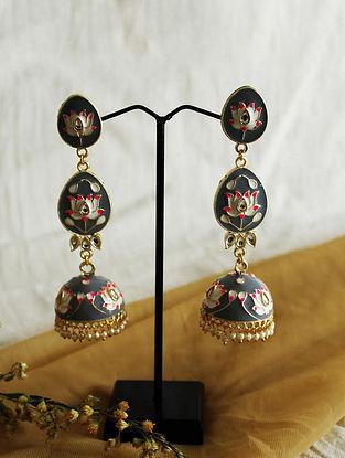 Grey Pink Gold Tone Enameled Jhumki Earrings