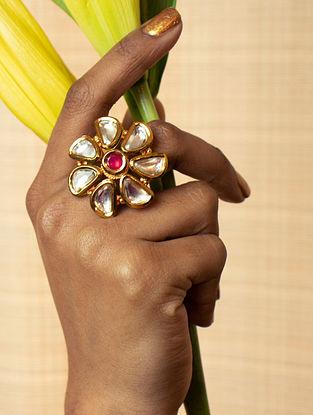 Red Gold Tone Kundan Ring