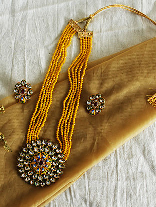 Yellow Green Gold Tone Kundan Beaded Necklace With Earrings