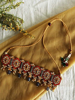 Grey Red Gold Tone Kundan Choker Necklace With Earrings