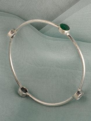 White  Green Tribal Silver Bangle (Size: 2/4)