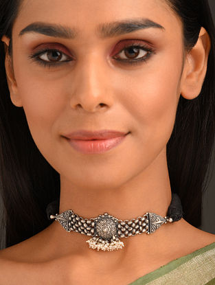 Black Tribal Silver Choker Necklace with Pearls