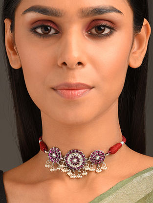 Red Tribal Silver Choker Necklace with Pearls