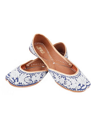 Blue Zari Embroidered Cotton Leather Juttis