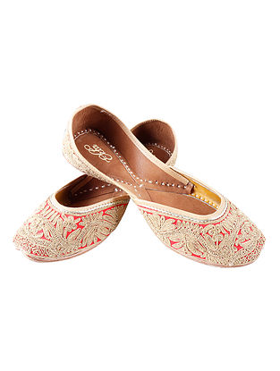 Red Zari Embroidered Cotton Leather Juttis
