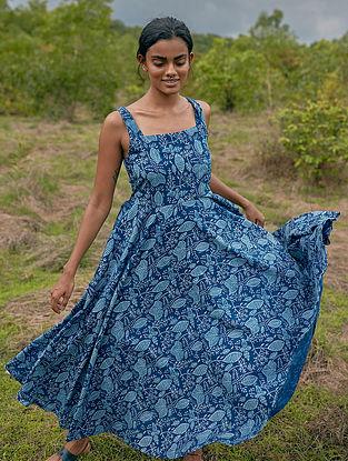 Meadow Magic' Indigo Blue Cotton Dress