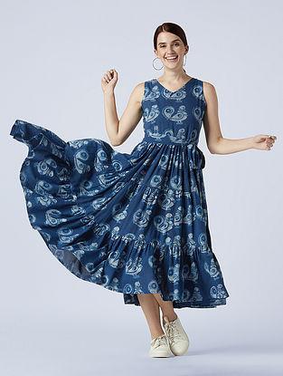 Freedom' Indigo Blue Hand Block Printed Cotton Dress