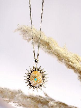 Off White Kundan Silver Pendant With Rutile Quart