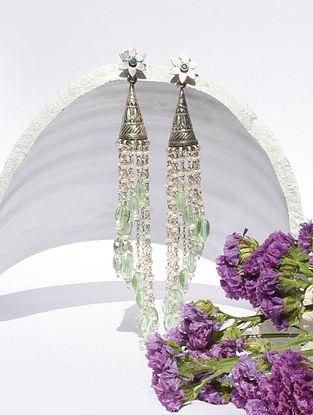Green Kundan Silver Jhumki Earrings With Emerald