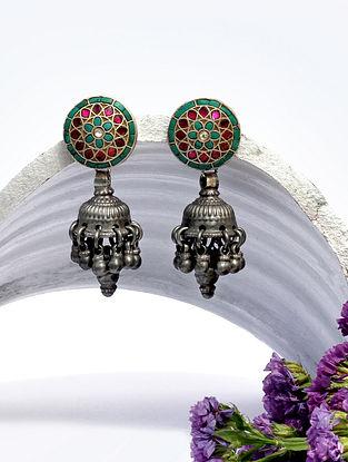 Blue Pink Kundan Silver Earrings With Stones