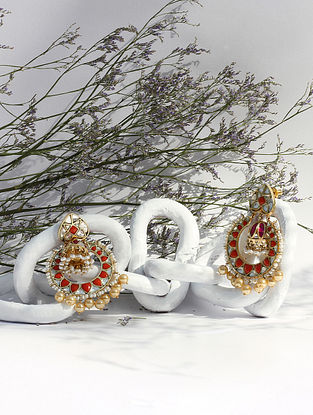 Gold Tone Orange Kundan Silver Earrings With Coral And Pearls