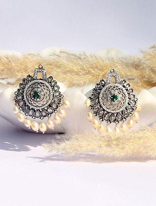 Green Kundan Silver Earrings With Emerald Pearls And CZ