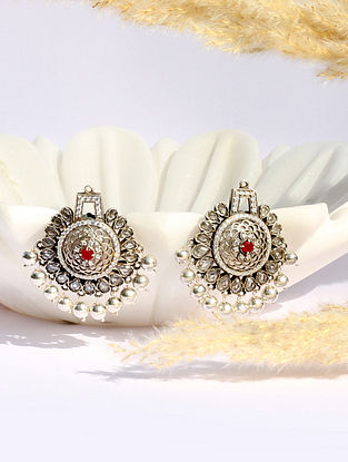 Pink Kundan Silver Earrings With Ruby Pearls  And CZ
