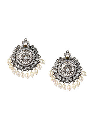 White Kundan Silver Earrings With CZ And Pearls