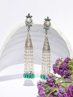 Blue Kundan Silver Jhumki Earrings With Turquoise