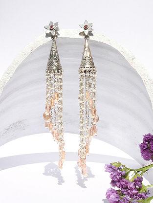 Pink Kundan Silver Jhumki Earrings With Ruby
