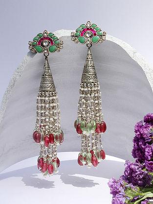 Pink Green Kundan Silver Jhumki Earrings With Emerald